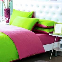 Спално бельо, Памук  зелено с циклама