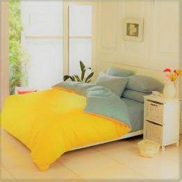 Спално бельо от Ранфорс, Жълто/Сиво
