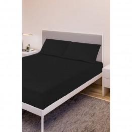 Спално бельо, Чаршаф с ластик ранфорс с 2 калъфки, Черно