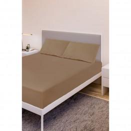 Спално бельо, Чаршаф с ластик ранфорс с 2 калъфки, Капучино