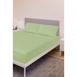 Спално бельо, Чаршаф с ластик ранфорс с 2 калъфки, Зелена ябълка