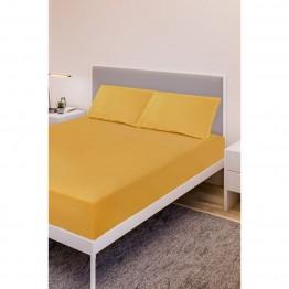Спално бельо, Чаршаф с ластик ранфорс с 2 калъфки, Оранжево