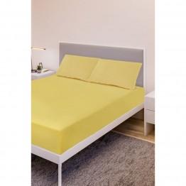 Спално бельо, Чаршаф с ластик ранфорс с 2 калъфки, Жълто