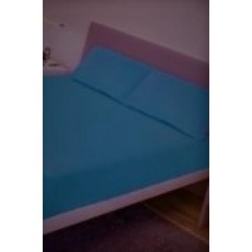 Спално бельо, Чаршаф памук с 2 калъфки, Синьо