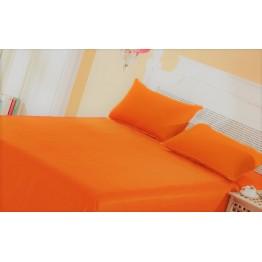 Спално бельо, Чаршаф памук с 2 калъфки, Оранжево