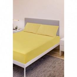 Спално бельо, Чаршаф памук с 2 калъфки, Жълто