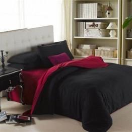 Спално бельо от памук, Черно/Бордо