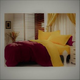 Спално бельо от памук, Бордо/Жълто