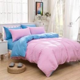 Спално бельо със Зимна олекотена завивка, Розово/Синьо